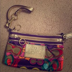 Coach Poppy two pocket wristlet